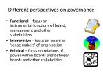 different perspectives on governance