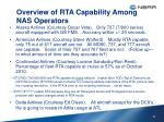 overview of rta capability among nas operators