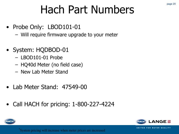 Hach Part Numbers