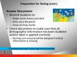 preparation for testing cont