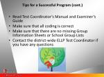 tips for a successful program cont