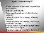 tips for a successful program