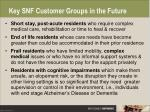 key snf customer groups in the future