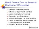 health centers from an economic development perspective
