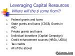 leveraging capital resources where will the come from