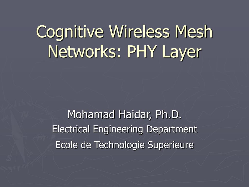 cognitive wireless mesh networks phy layer l.