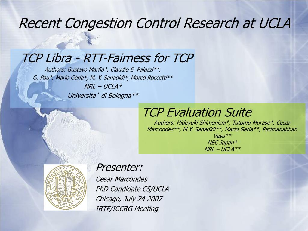 recent congestion control research at ucla l.