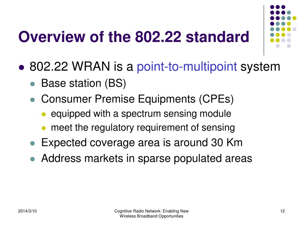 Overview of the 802.22 standard