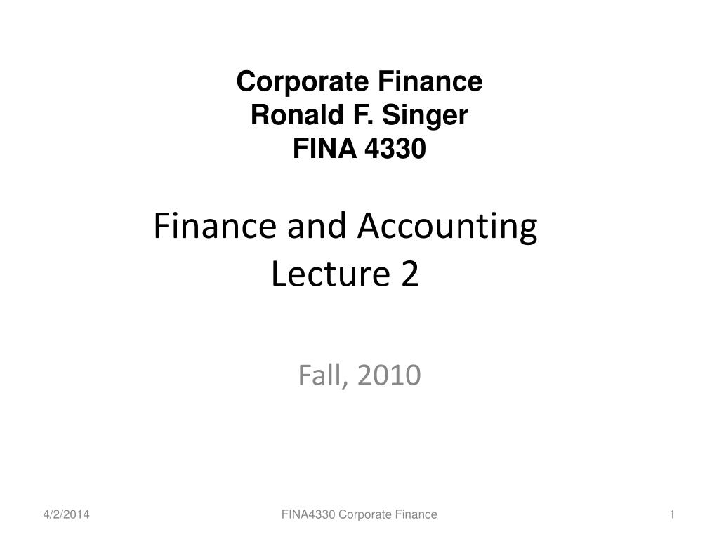 finance and accounting lecture 2 l.