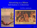 advertising as a mirror individualism vs collectivism