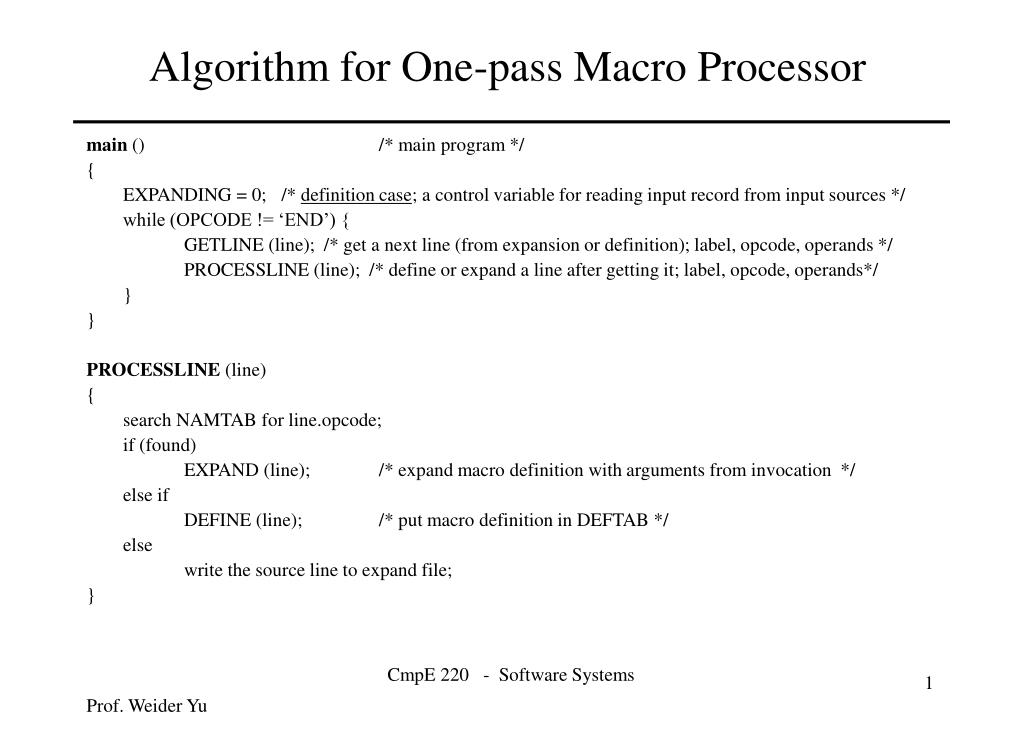 algorithm for one pass macro processor l.
