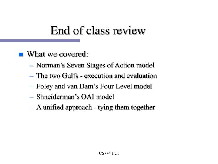 End of class review