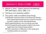 mohsin s khan 1986 1985