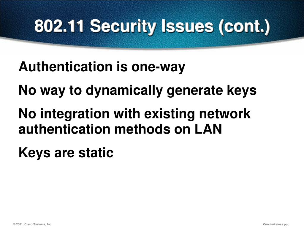 802.11 Security Issues (cont.)