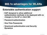 802 1x advantages for wlans