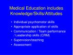 medical education includes knowledge skills attitudes