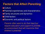 factors that affect parenting