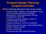 program design planning program activities