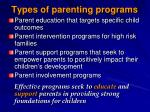types of parenting programs