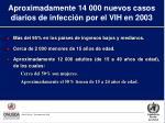 aproximadamente 14 000 nuevos casos diarios de infecci n por el vih en 2003