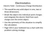 electrostatics electric field continuous charge distribution
