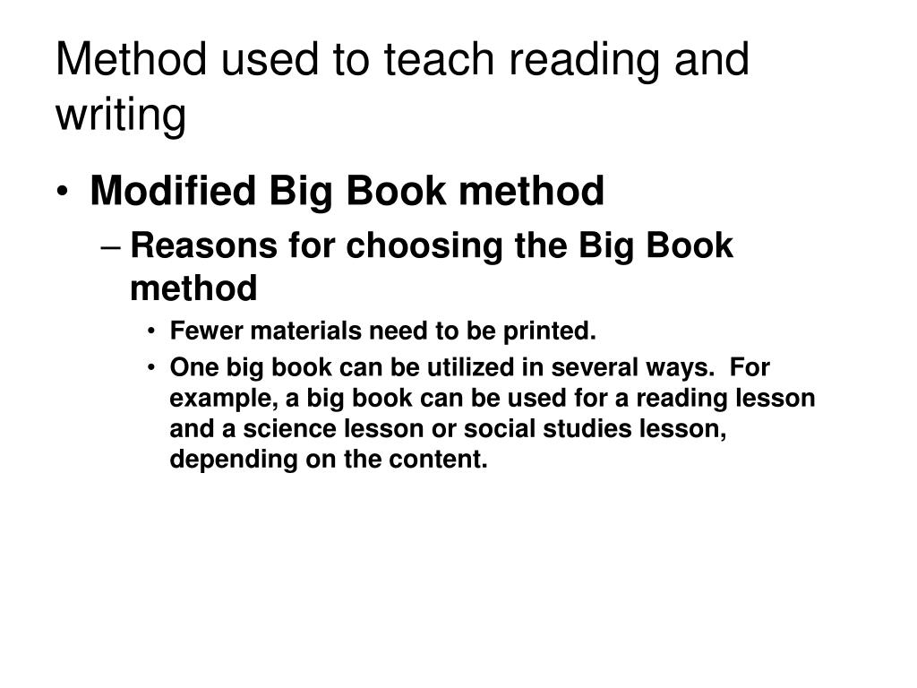 Method used to teach reading and writing