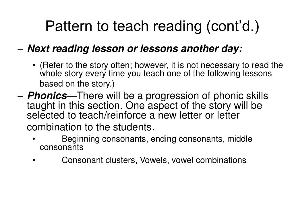 Pattern to teach reading (cont'd.)