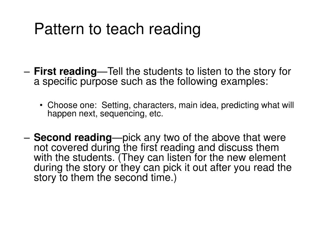 Pattern to teach reading