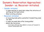 dynamic reservation approaches sender vs receiver initiated