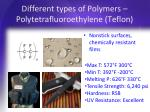 different types of polymers polytetrafluoroethylene teflon