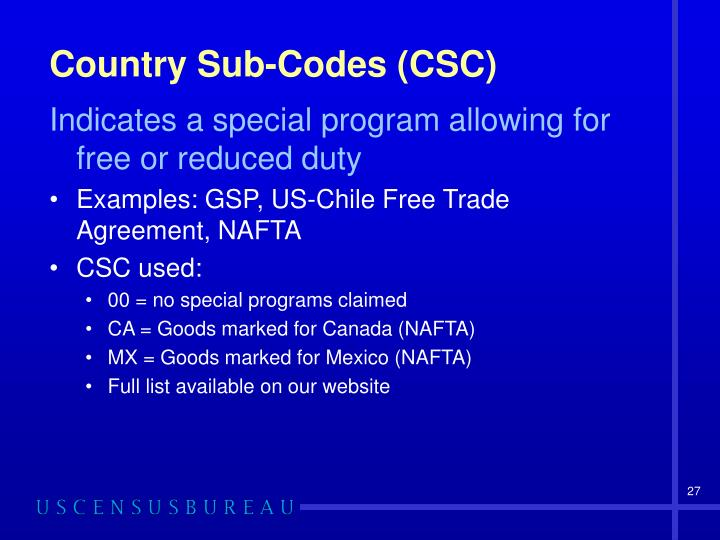 Country Sub-Codes (CSC)