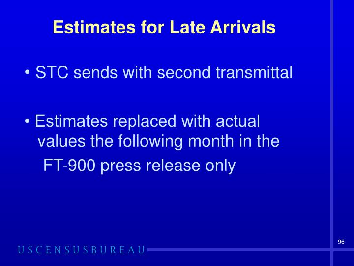 Estimates for Late Arrivals