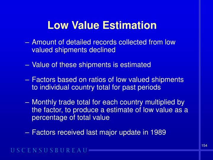 Low Value Estimation