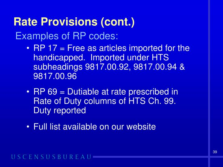 Rate Provisions (cont.)