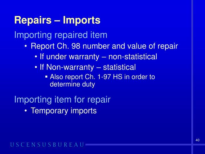 Repairs – Imports