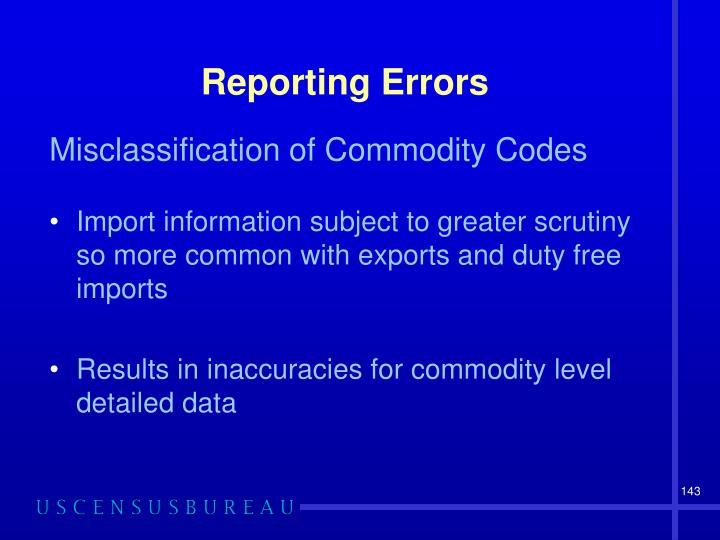 Reporting Errors