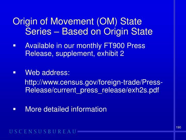 Origin of Movement (OM) State Series – Based on Origin State