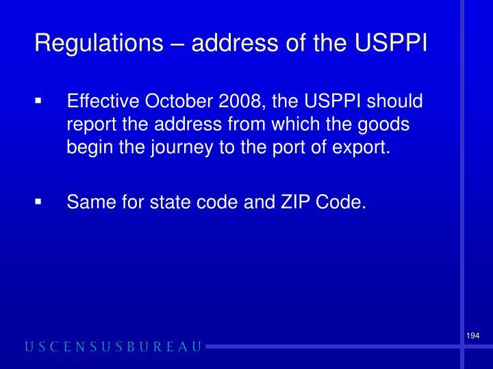 Regulations – address of the USPPI