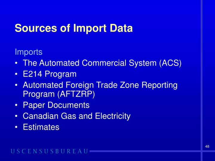 Sources of Import Data