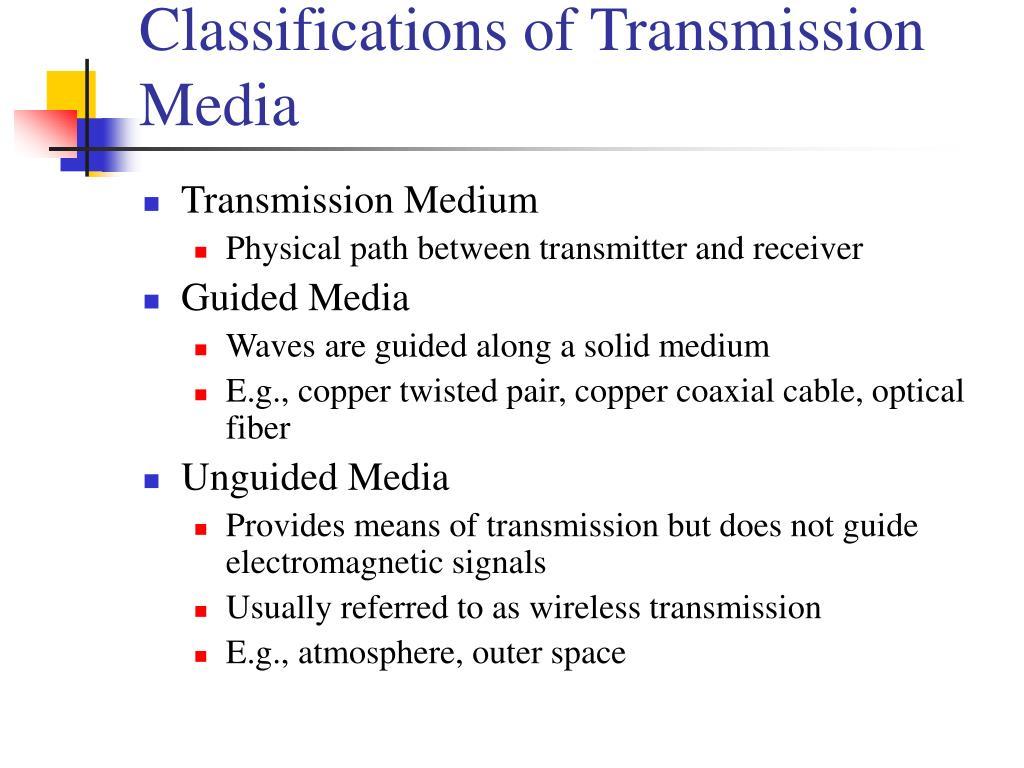 Classifications of Transmission Media