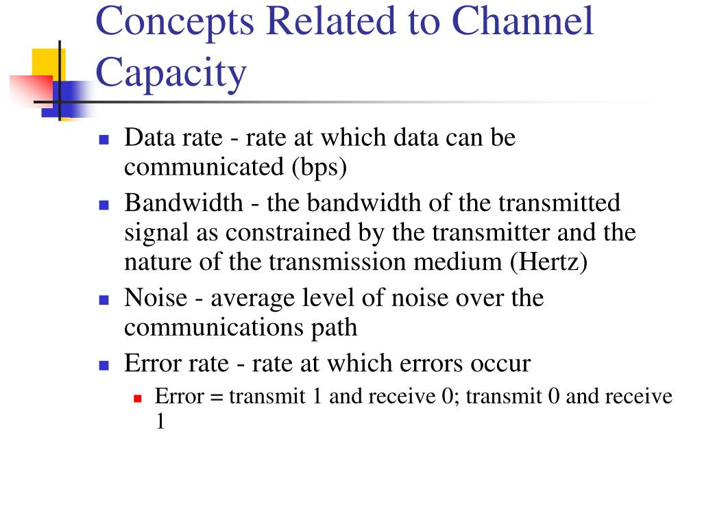 Concepts Related to Channel Capacity