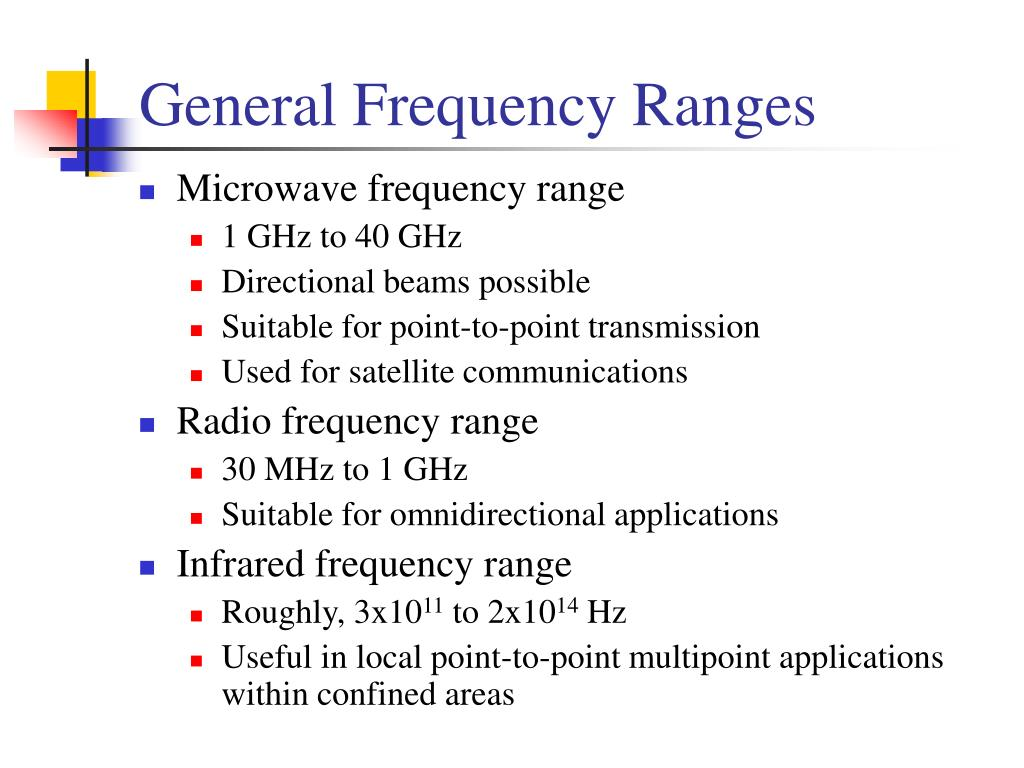 General Frequency Ranges