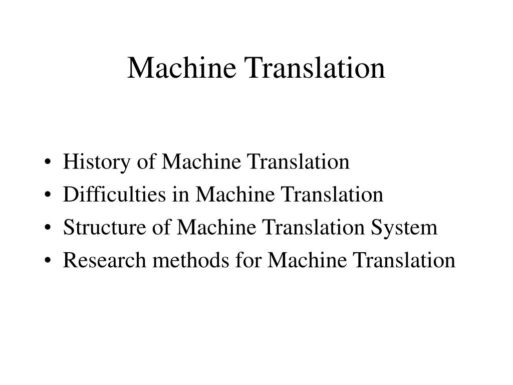 machine translation l.