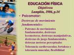 educaci n f sica objetivos lumpkin 1986 p 1426