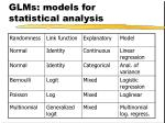 glms models for statistical analysis
