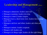 leadership and management bennis 1989