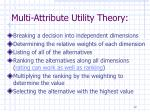 multi attribute utility theory