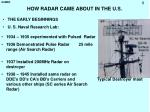 how radar came about in the u s