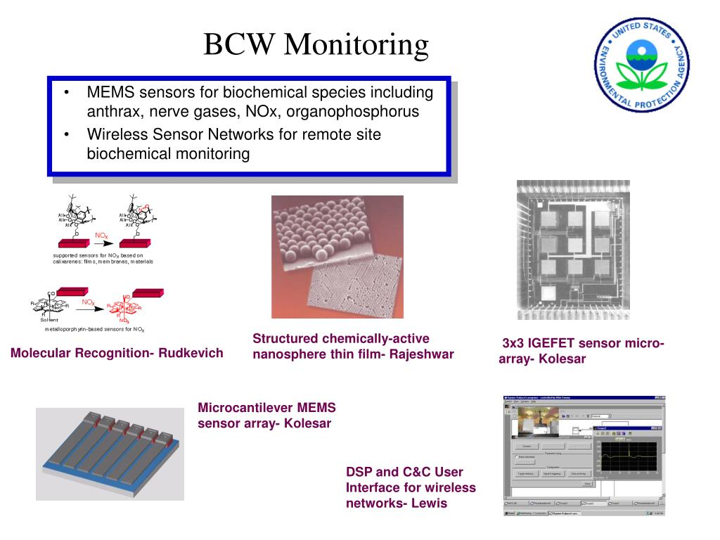 MEMS sensors for biochemical species including anthrax, nerve gases, NOx, organophosphorus