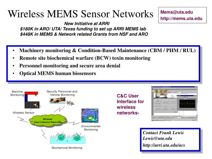 Wireless mems sensor networks